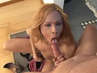 Horny shemale fucks guy and cums