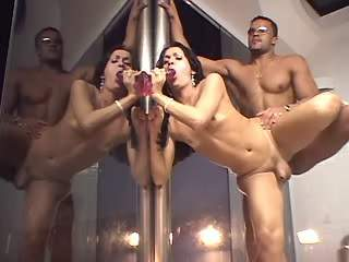Latin shemale gets cock and cums