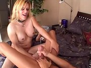 Guy fucked by blond tranny n jizzes