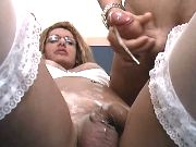 Blond shemale fucks and gets facial