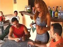 Hot guys share transsexual waitress