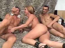 Shemale gets cum in orgy after fuck
