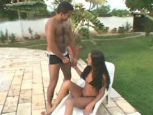 Curly Brazilian tranny does blowjob
