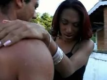 Brazilian shemale enjoys BJ outdoor